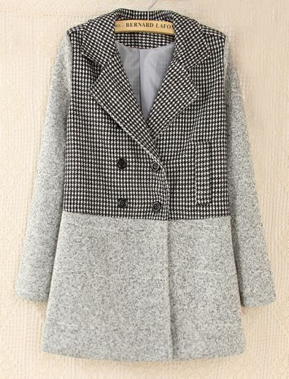 Grey Long Sleeve Contrast Houndstooth Pattern Woolen Coat