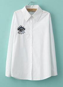 White Long Sleeve Lapel Eye Embroidery Blouse