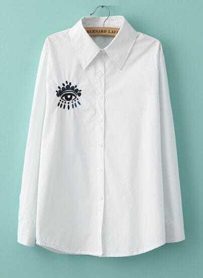 White Long Sleeve Lapel Eye Embroidery Blouse