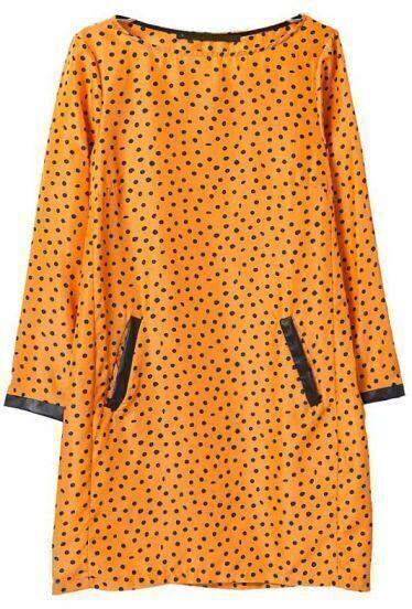 Yellow Long Sleeve Polka Dot Contrast PU Leather Dress