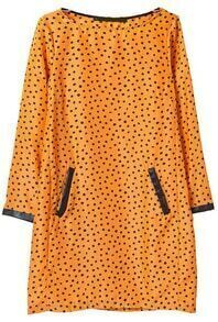 Yellow Long Sleeve Polka Dot Contrast PU Leather Dress