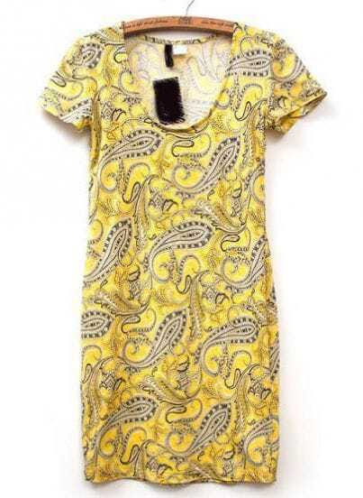 Yellow Short Sleeve Cashews Print Knit Dress
