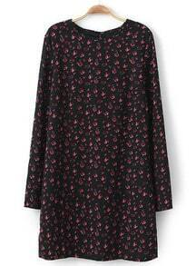Black Long Sleeve Floral Straight Dress