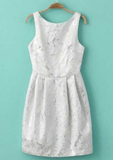 White Sleeveless Backless Embroidered Pleated Dress