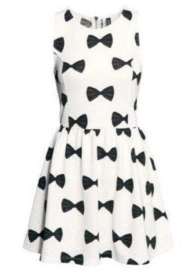 White Sleeveless Bow Print Pleated Dress