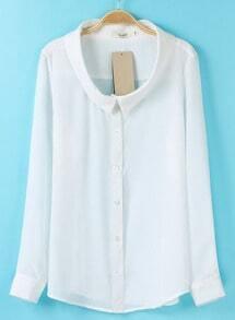 White Lapel Long Sleeve Simple Design Blouse