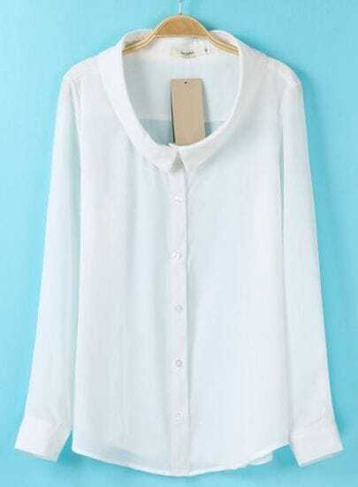 White Lapel Long Sleeve Simple Design Blouse