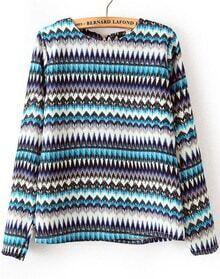 Turquoise Long Sleeve Zigzag Print Chiffon Blouse