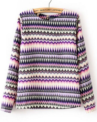 Purple Long Sleeve Zigzag Print Chiffon Blouse