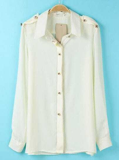 Beige Lapel Long Sleeve Epaulet Buttons Blouse