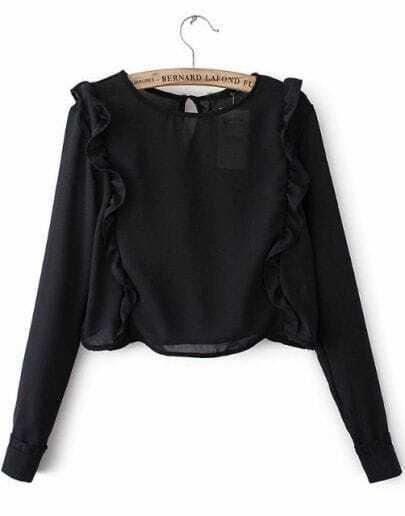 Black Long Sleeve Ruffle Crop Blouse