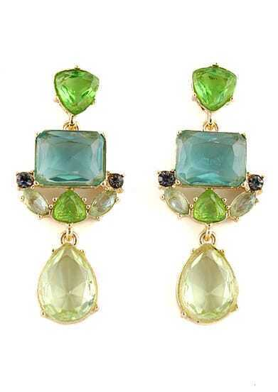 Green Gemstone Gold Geometric Earrings