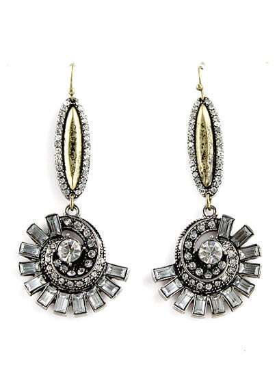 Retro Silver Diamond Spiral Dangle Earrings