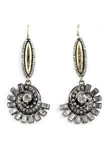 Retro Silver Diamond Spiral Dangle Earrings