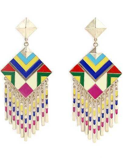Gold Tassel Square Earrings