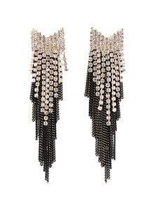 Retro Gold Diamond Chain Tassel Earrings