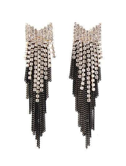 Retro Gold Diamond Chain Tassel Earrings