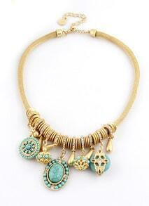 Green Gemstone Gold Vintage Necklace