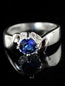 Fashion Blue Diamond Silver Ring