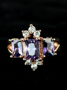 Purple Diamond Gold Fashion Ring