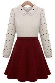 Beige Contrast Red Hearts Print Ruffle Dress