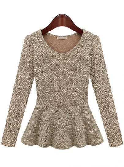 Beige Long Sleeve Round Neck Bead Ruffle Hem Top