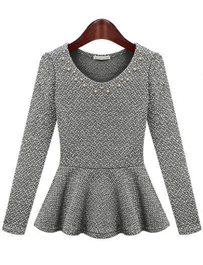 Grey Long Sleeve Round Neck Bead Ruffle Hem Top