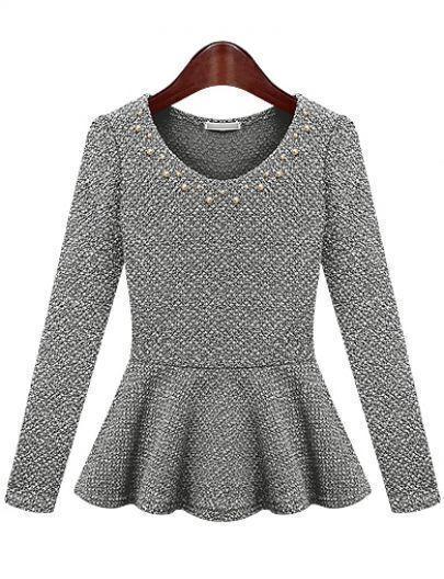 Robeen tricot cascade avec ornement -gris