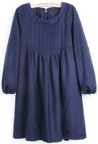 Blue Puff Sleeve Bow Pleated Dress