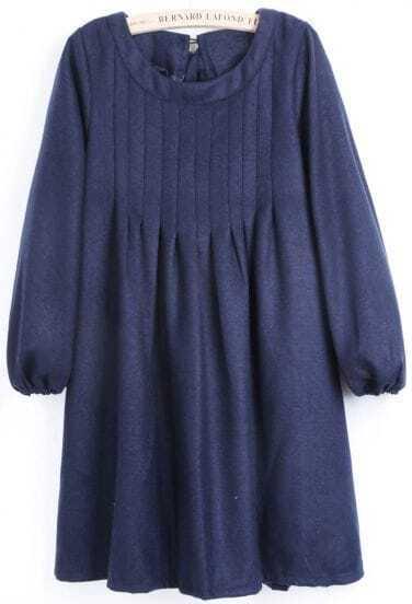 Blue Puff Sleeve Bow Pleated Dress