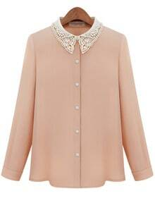 Pink Contrast Hollow Lapel Bead Chiffon Blouse