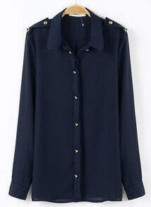 Navy Lapel Long Sleeve Epaulet Buttons Blouse