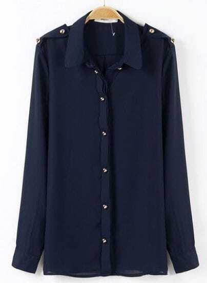 Navy Lapel Long Sleeve Epaulet Buttons Blouse