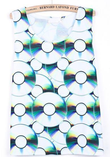 Green Sleeveless CD Print Vest