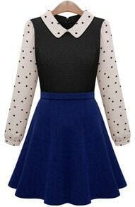 Beige Contrast Navy Hearts Print Ruffle Dress
