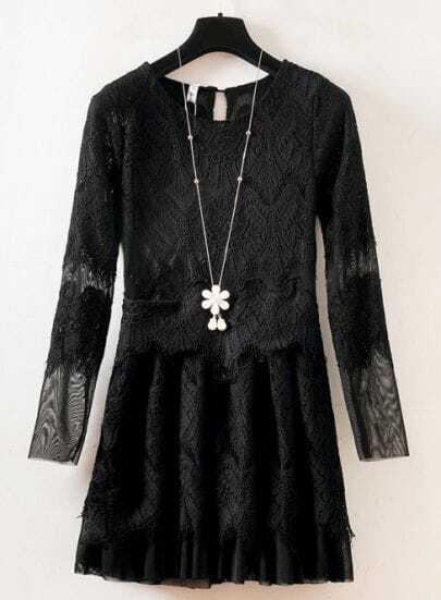 Black Long Sleeve Embroidered Lace Pleated Dress