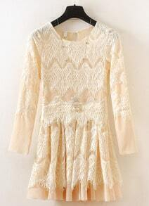 Yellow Long Sleeve Embroidered Lace Pleated Dress