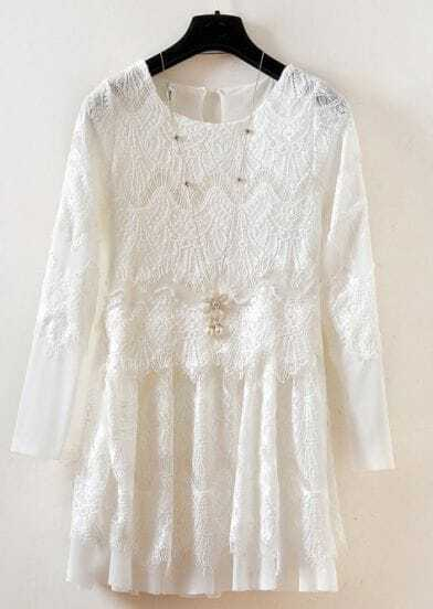 White Long Sleeve Embroidered Lace Pleated Dress