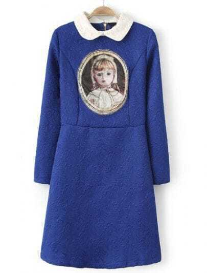 Blue Contrast Collar Long Sleeve Doll Print Dress