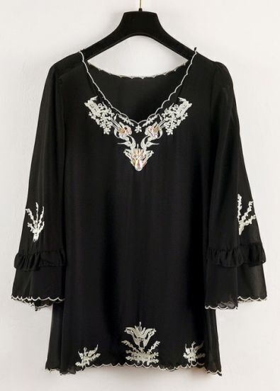 Black V Neck Long Sleeve Embroidered Chiffon Blouse
