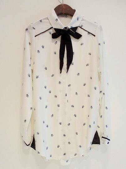 White Lapel Long Sleeve Bow Bee Print Blouse