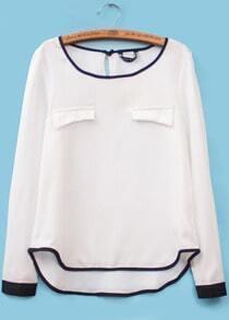 White Long Sleeve Contrast Trims Chiffon Blouse