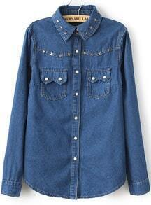 Blue Lapel Long Sleeve Pearls Denim Blouse