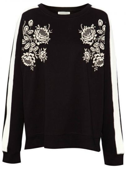 Black Round Neck Long Sleeve Embroidered Sweatshirt