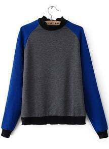 Grey Stand Collar Contrast Long Sleeve Sweatshirt