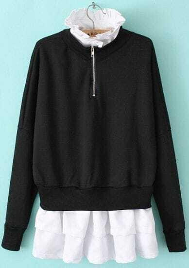 Black Stand Collar Contrast Ruffle Sweatshirt