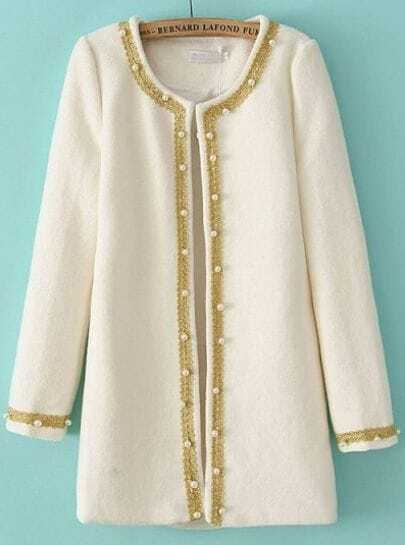 White Long Sleeve Contrast Trims Bead Coat
