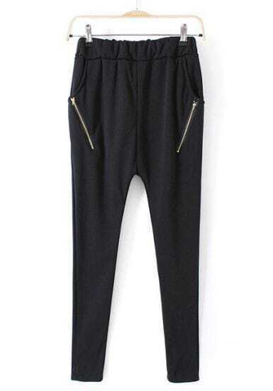 Black Elastic Waist Zipper Pockets Pant