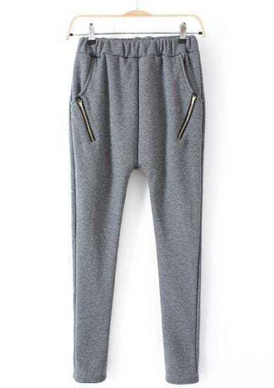 Grey Elastic Waist Zipper Pockets Pant