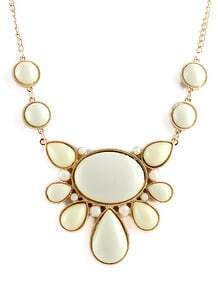 White Gemstone Gold Chain Necklace